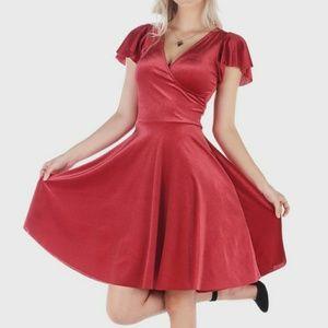 All That Glitters Velvet Red Wrap Longline Dress S
